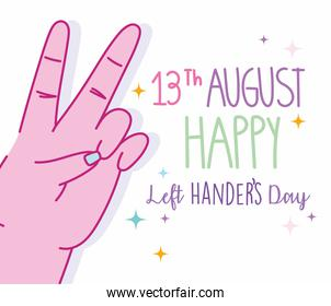 left handers day, hand showing victory sign cartoon celebration