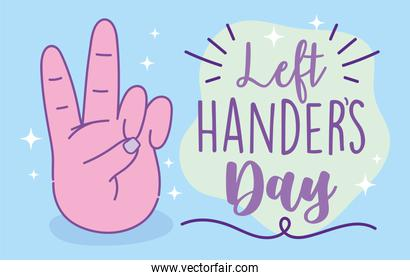 left handers day, hand showing peace and love sign cartoon celebration