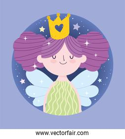 little fairy princess with wings and gold crown tale cartoon
