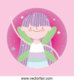 little fairy princess with wings magic character tale cartoon