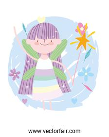winged little fairy princess tale cartoon with flowers and magic wand