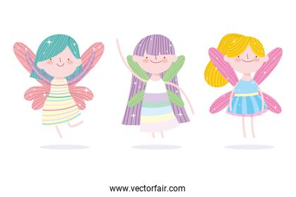 cute little fairies princess with wings characters tale cartoon