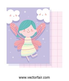 little fairy princess with wings and clouds adorable magic tale cartoon