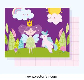 little fairy princess with unicorn tale cartoon clouds forest