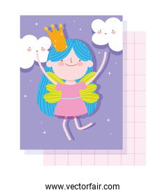 little fairy princess with crown and clouds magic tale cartoon