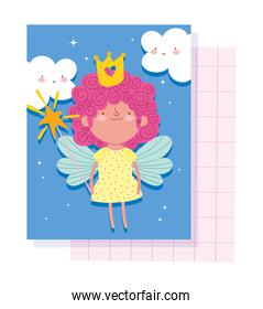 little fairy princess with crown magic wand and wings tale cartoon