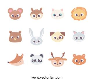cute cartoon animals faces wild domestic pet collection icons