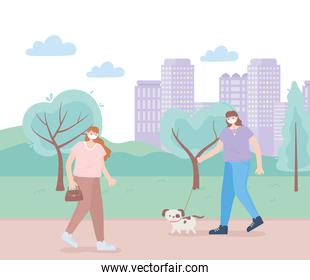 people with medical face mask, women walking with pets dog, city activity during coronavirus