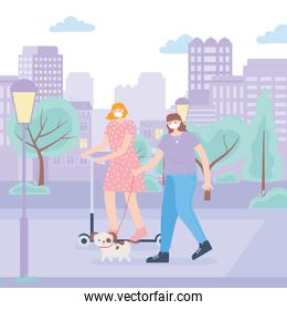 people with medical face mask, woman riding kick scooter and girl walking with dog in the park street, city activity during coronavirus