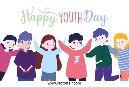happy youth day celebration cartoon character group people