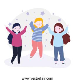 happy youth day cartoon character group women friends celebrating