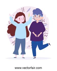 happy youth day cartoon character young man and woman celebrating