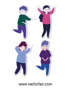 happy youth day celebration cartoon character woman and men together