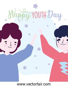happy youth day cartoon character two men celebrating event