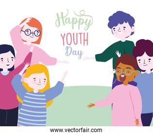 happy youth day cartoon character men and women celebrating party