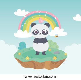 cute panda with bird and bee animals adorable with flowers and rainbow cartoon