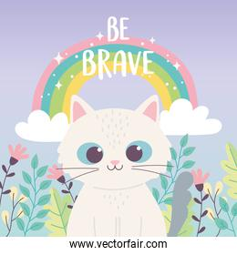cute little cat animal rainbow flowers branch inspirational phrase cartoon
