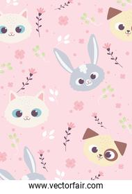 cute animals faces rabbit cat dog flowers floral decoraiton background