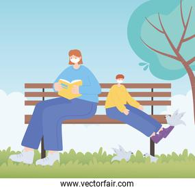 people with medical face mask, woman and boy on bench, city activity during coronavirus