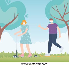 people with medical face mask, woman riding skate and man walking in park, city activity during coronavirus