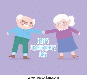 happy grandparents day, cute grandfather and grandmother holding hands cartoon card