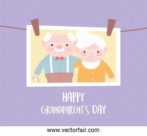 happy grandparents day, hanging photo with old couple cartoon card