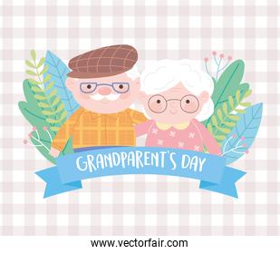 happy grandparents day, cute old couple with flowers cartoon checkered background