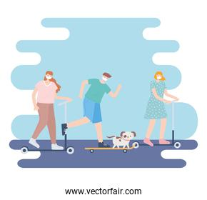 people with medical face mask, women and man riding skates with pet, city activity during coronavirus