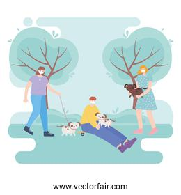 people with medical face mask, young man and women with dogs and skate in the park, city activity during coronavirus
