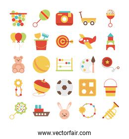 toy object for small children to play, flat style cartoon icons set