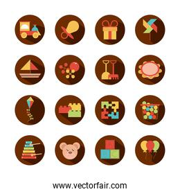toy object for small children to play, block and flat style cartoon icons set