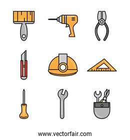 tool repair maintenance and construction equipment icons set line and fill