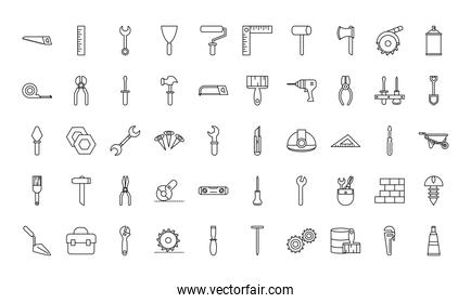 tool repair maintenance and construction equipment icons set line style icon