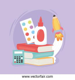 back to school, palette color books glue calculator and rocket education cartoon
