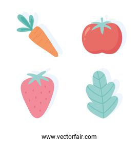 fresh fruits vegetable carrot tomato strawberry and leaf icons