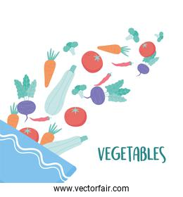 vegetables falling into a salad bowl food healthy