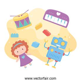 toys object for small kids to play cartoon doll robot drum piano blocks