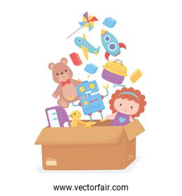 cardboard box full toys object for small kids to play cartoon