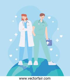 thank you doctors and nurses, female doctor and male nurse on world