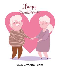 happy grandparents day, cute elderly couple holds hands heart romantic cartoon card