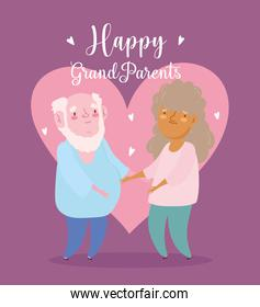 happy grandparents day, grandfather and grandmother together in love cartoon card