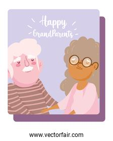 happy grandparents day, cartoon character old couple holding hands card