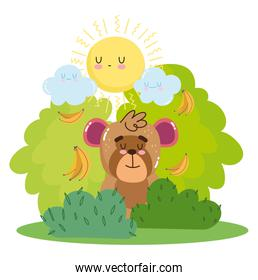 cute monkey sitting with bananas in the grass cartoon