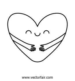 Heart with arms cartoon line style icon vector design