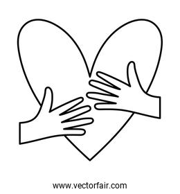 Heart with hands hugging line style icon vector design