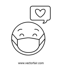 emoticon with medical mask and heart bubble line style icon vector design