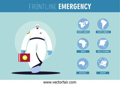 Frontline medical team working in different countries for health emergency