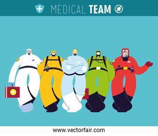 Front line medical team with protective suits