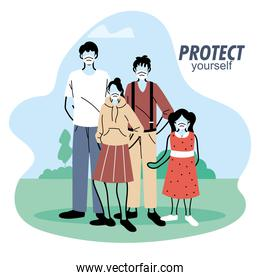 family with mask in nature