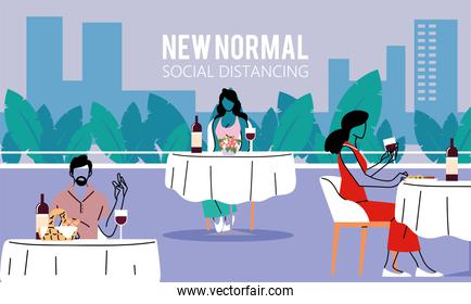 Social distancing between people at tables vector design